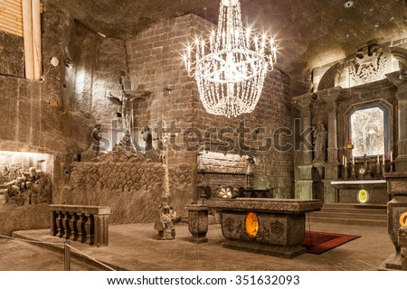 Wieliczka - Poland - April 23. The Chapel of St. Kinga is the most famous chamber in underground Wieliczka salt museum. Chapel is located 101 meters underground. Wieliczka - Poland - April 23, 2015