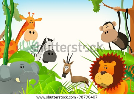 Wild Animals Postcard Background/ Illustration of cute various cartoon wild animals from african savannah, including  lion, elephant,giraffe, gazelle, monkey and zebra with jungle background