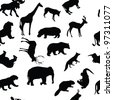 Wild animals seamless pattern background. Raster version. - stock photo
