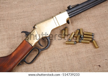Wild west period repeating rifle isolated