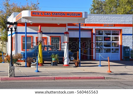 WILLIAMS, USA -MARCH 21, 2016: Pete's Gas station museum is one of the tourist highlights in Williams, AZ. The town on Route 66, gateway to the Grand Canyon, is visited by people from all of the world
