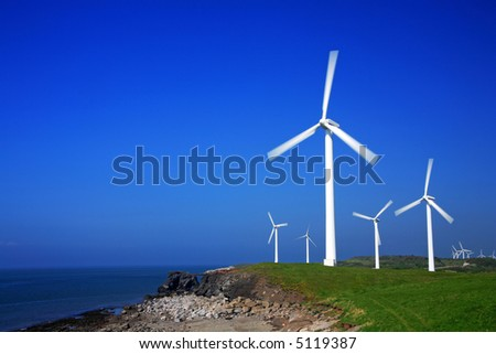 Wind farm with clear blue sky for copy space. More in my portfolio.