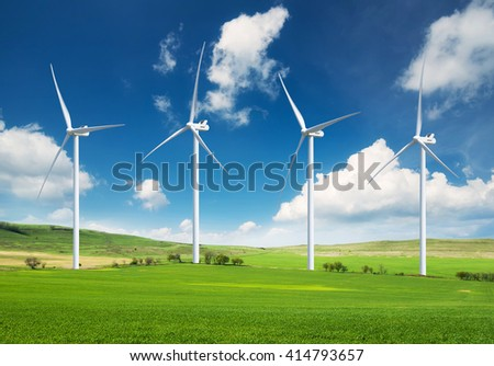 Wind power station. Ecological energy composition