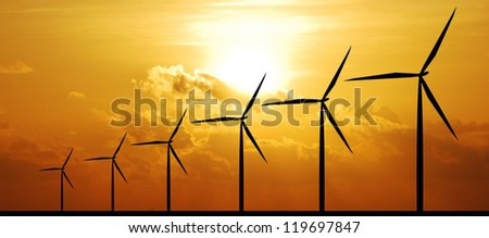 wind turbine sunset background ecosystem for design