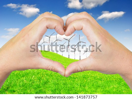 wind turbine with heart from hands