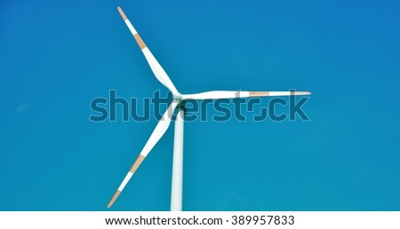 wind turbines   on the background   blue sky