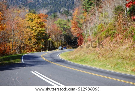 winding road in the autumn mountain forest