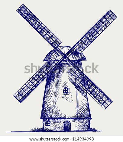 old windmill doodle style stock vector 124637593 shutterstock. Black Bedroom Furniture Sets. Home Design Ideas