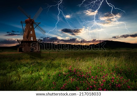 Windmill in the thunderstorm.