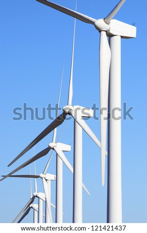 windmills for clean energy production renewable electric, Pozuelo de Aragon, Zaragoza, Spain