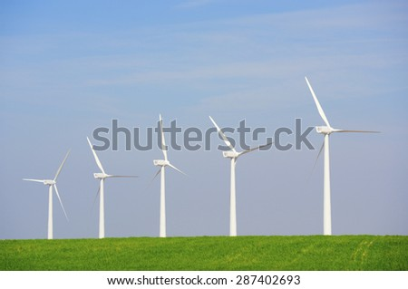 Windmills for electric power production, Zaragoza province, Aragon, Spain
