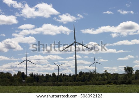 Windmills in Field on Sunny Day