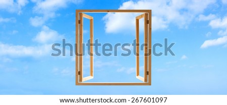 window frame wooden open sky view panoramic