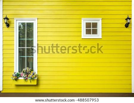windows of wooden house, Decorated With Fresh Flowers
