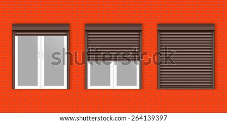Windows with Rolling Shutters on Red brick wall. Raster version