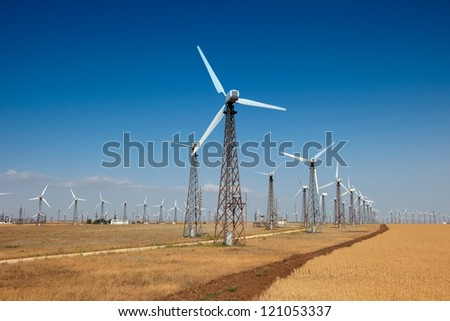 windpower generator on blue sky