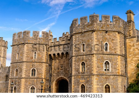 WINDSOR, ENGLAND - JULY 21, 2016: King Henry VIII Gate, Windsor Castle, Berkshire, England. Official Residence of Her Majesty The Queen