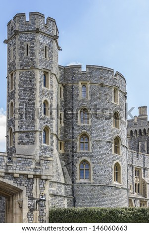 WINDSOR, ENGLAND - MAY 27: Outside view of Medieval Windsor Castle on May 27, 2013, Windsor, England. Windsor Castle is a royal residence at Windsor in the English county of Berkshire.