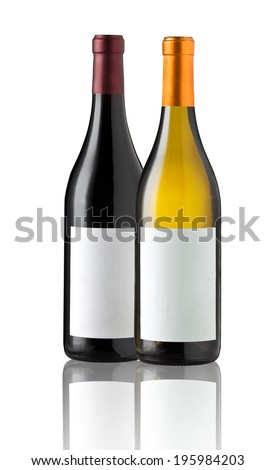 Wine bottles isolated with blank labels for your text or logo.