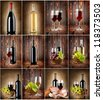Wine collage on a wooden background and textile background - stock photo