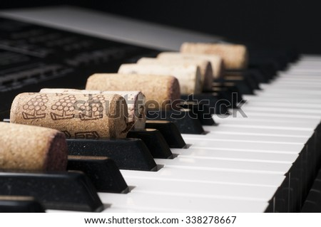 Wine cork on piano keyboard. Studio shot.
