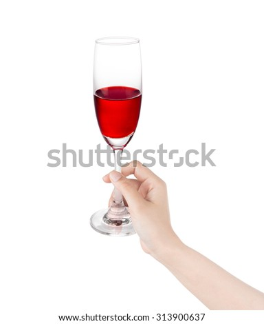 Wine glass in the hand isolated on a white background.
