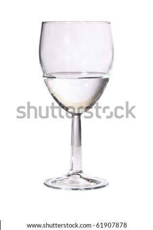 Wine Glass partly filled with Water Isolated on White