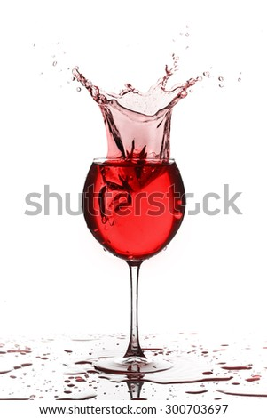 Wine glass with liquid splash on white background
