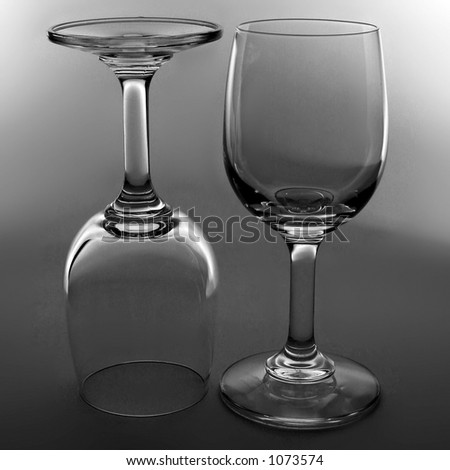 wine glasses in black and white