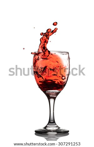 wine splash on the white background