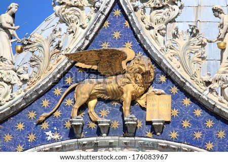 Statue Golden Winged Lion On Basilica Stock Photo 721453063