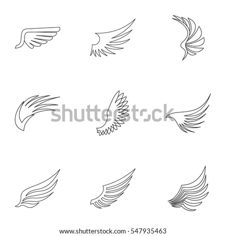 Wings icons set. Outline illustration of 9 wings  icons for web