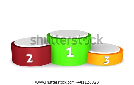 Winners podium - empty podium isolated on white background. 3d render