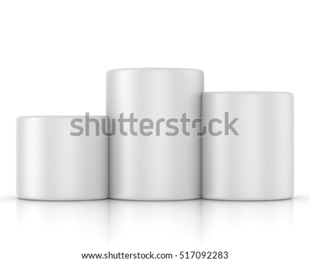 Winners podium, pedestal isolated on white background. 3d render