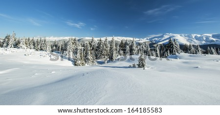 Winter alpine scenery with snow dunes and frozen snow