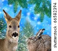 winter christmas card wit deer and hare - stock photo