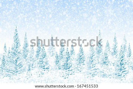 Winter Christmas forest, falling snow