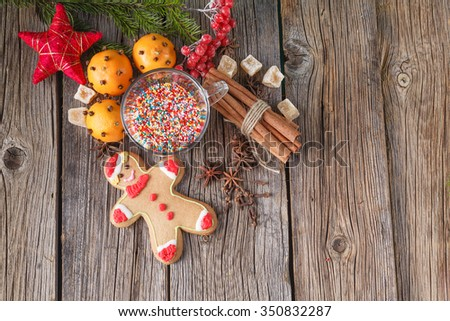 Winter decoration concept. Set of winter ingredients on rustic background