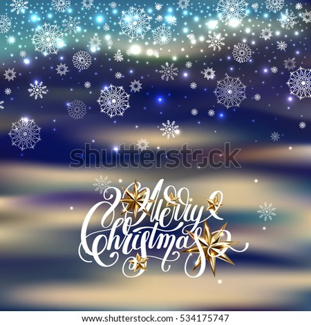 winter design with holiday lights, golden stars and handwritten lettering merry christmas to greeting card, poster, banner, raster version illustration
