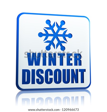 winter discount 3d white banner with blue text and snowflake symbol, business concept