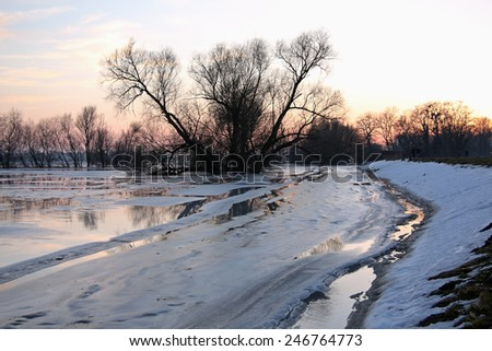 Winter flood at the Oder River during twilight. The Oderbruch (literally in German: Oder swamp) is a region along the river Oder between the towns Oderberg and Bad Freienwalde.
