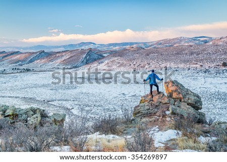 winter hiking foothills of Rocky Mountains  in northern Colorado, Coyote RIdge Natural Area near Fort Collins