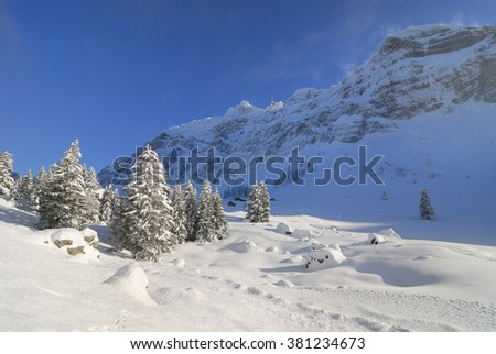 winter land scape in the Swiss Alps, Switzerland