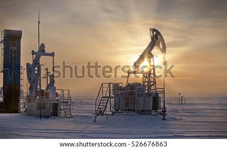 winter landscape based on the extraction of oil in Russia