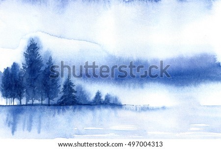 Winter landscape. Watercolor landscape illustration. Christmas background.