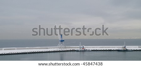 Winter morning in port of Tallinn