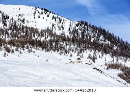 Winter mountain landscape, Dolomite Alps, Switzerland