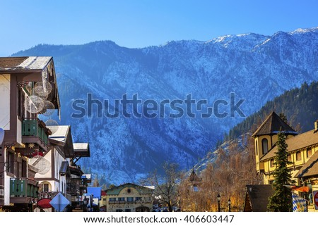 Winter Mountains Snow German Buildings Orange Maple Leaves Leavenworth Washington