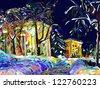 winter night cityscape digital painting - stock photo