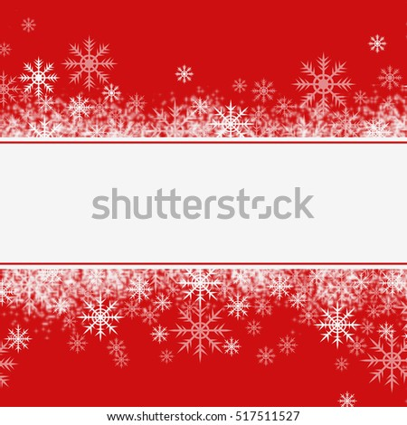 Winter or Christmas arrangement with snowflakes on red background